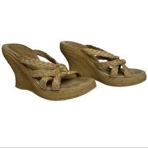 Sbicca Tan Cream Platform Wedge Sandles Size 8